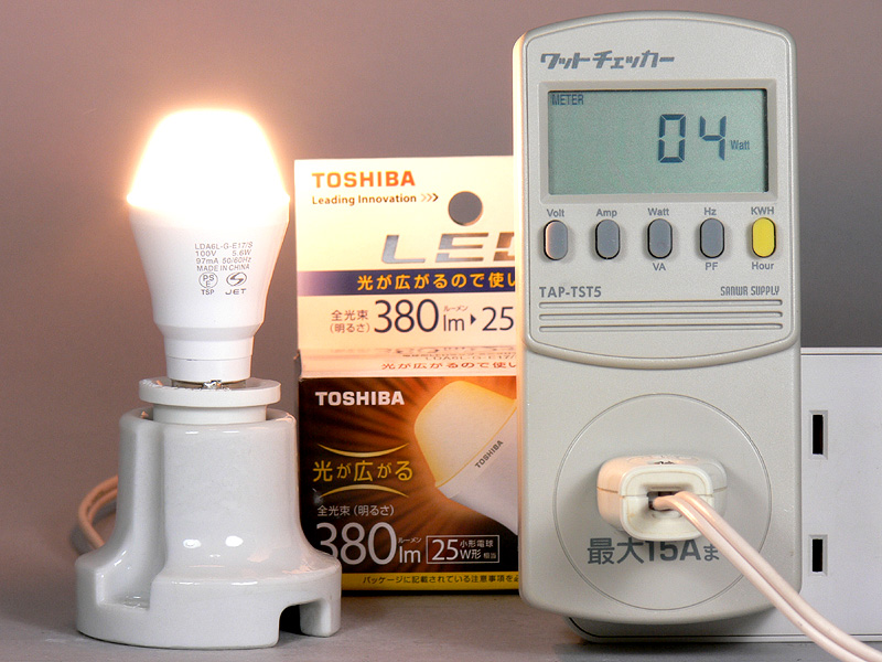 "<strong class="""">【E-CORE E17 LDA6LGE17S】</strong><br class="""">消費電力は4W。公表されている全光束値と消費電力で換算すると、発光効率は67.9lm/Wになる"