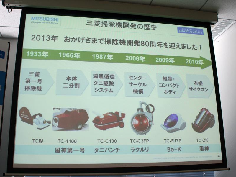 三菱電機は、2013年に掃除機製造80周年を迎えるという