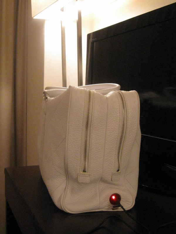 翌日のために、充電ケーブルとACアダプタを使ってバッグ本体の充電をしてから就寝した