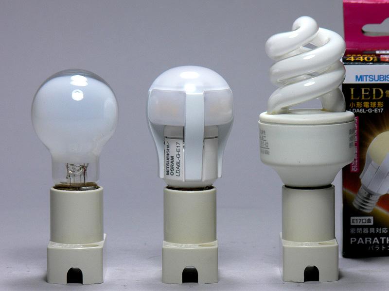 放熱部の形状が独特で、電球のイメージとずいぶん違う(中央)。だが、高さはミニクリプトン電球と全く同じ67mmだ。口金付近の径は25mmで、ミニクリプトンより6mmも太い。重量の49gは、小型LED電球全体の中では軽めだ