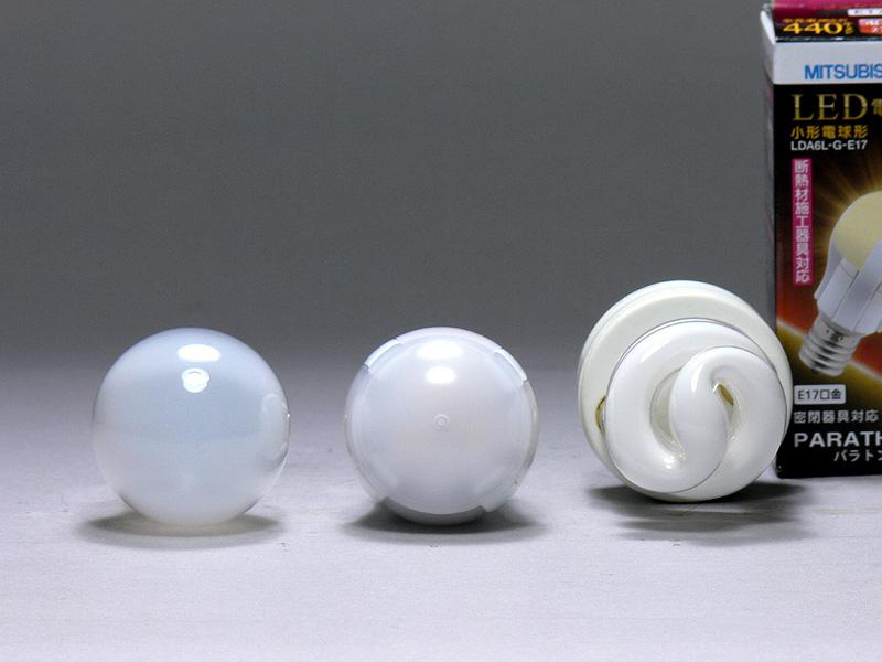 直径は35mm(中央)で、こちらもミニクリプトン電球と同じ。上からみれば、4本の放熱部はさほど気にならない。LEDを覆うカバーはポリカーボネート樹脂