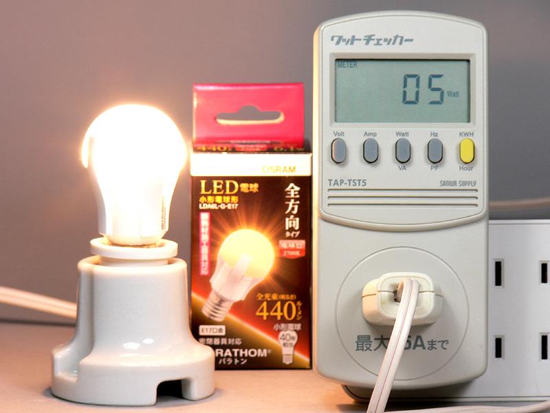 "<strong class="""">【PARATHOM E17 LDA6LGE17】</strong><br class="""">消費電力は5W。公表されている全光束値と消費電力で換算すると、発光効率は72.13lm/Wととても高い"