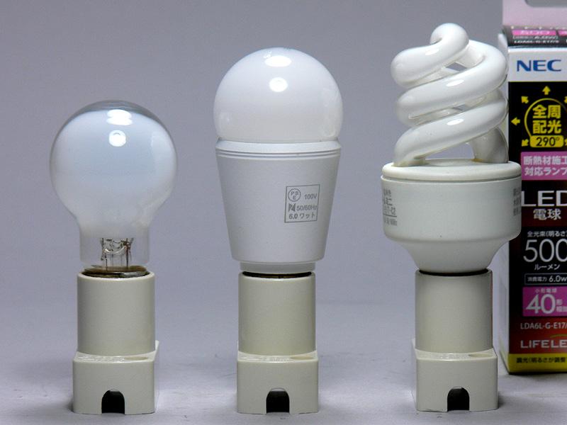 中央がライフレッズ。いわゆる「LED電球」らしい形状だが、球体のグローブはミニクリプトン電球のイメージに近い。高さは80mm、口金付近の径は25mmで、ミニクリプトン電球よりも13mm背が高く、6mm太かった。重量の44gは、小型の全般配光形LED電球中では軽め