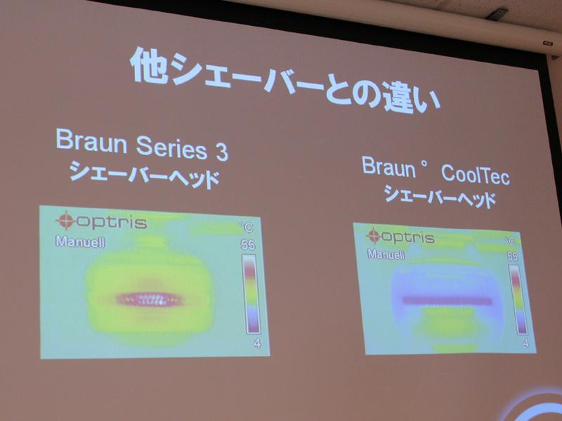 ブラウンの従来モデル(左)と比べた、ヘッドの熱の違い。右のクールテックは、ヘッド全体が冷たいままとなっている