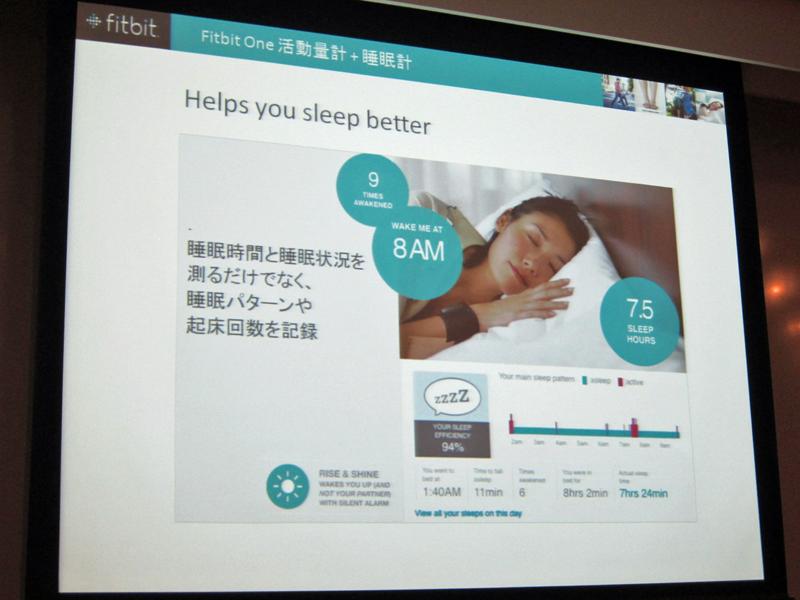 独自のアルゴリズムで、睡眠時間と睡眠状況、睡眠パターン、起床階回数も計測する