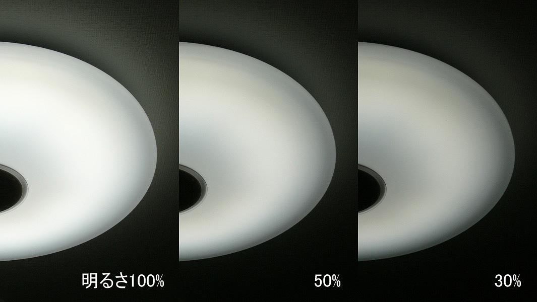 3段階の調光した器具の様子。左から100%、50%、30%