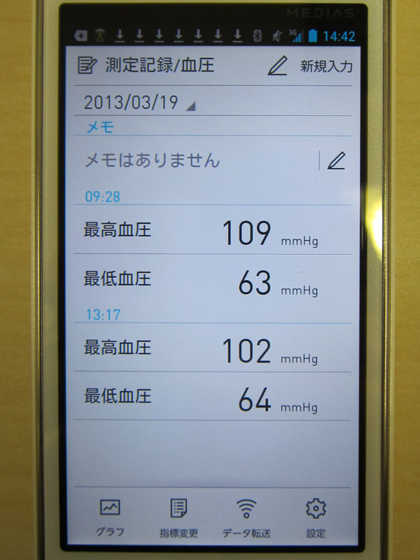 血圧。メモも記録できる。なお当日の測定回数の上限は無く、全て表示される