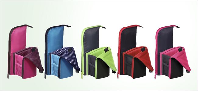 新色5色。左から、ピンク×ブラウン(ドット柄)、ブルー×ネイビーブルー(ドット柄)、ダークグリーン×ライトグリーン、ブラック×レッド、ダークグレー×ピンク
