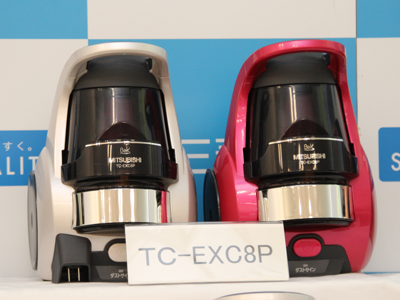 自走式ではないモーター駆動のパワーブラシを採用した「TC-EXC8P」。左からプラチナホワイト、マゼンタ