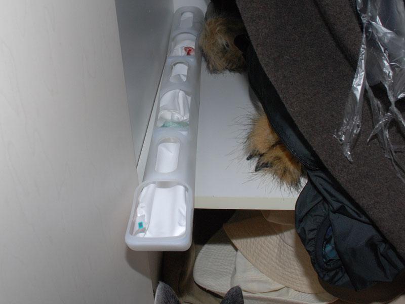 以前、同じクローゼットで、押し入れ用の除湿剤を試したときは、奥行きが足りなかった