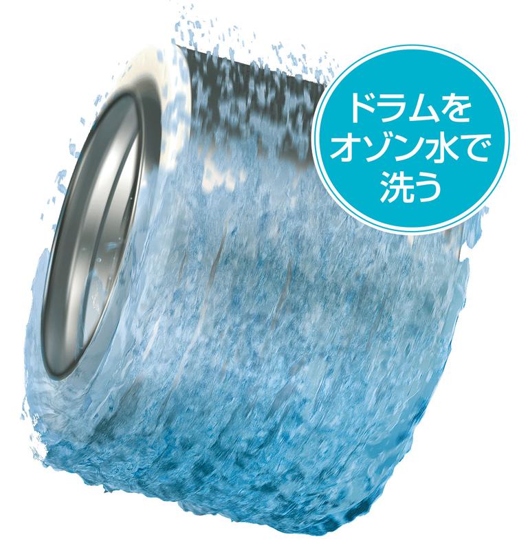 すすぎ時にオゾン水でドラム自体を洗浄し、清潔さを保つという
