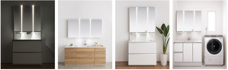 「ツインラインLED照明」を採用した洗面化粧台