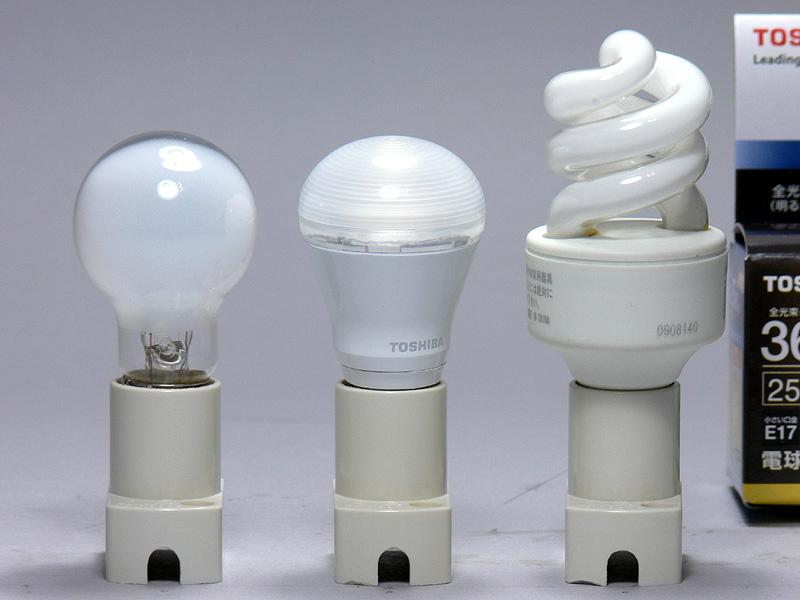 サイズはミニクリプトン電球(左)と同じ。電球型蛍光灯(右)と比べればさらに小さい