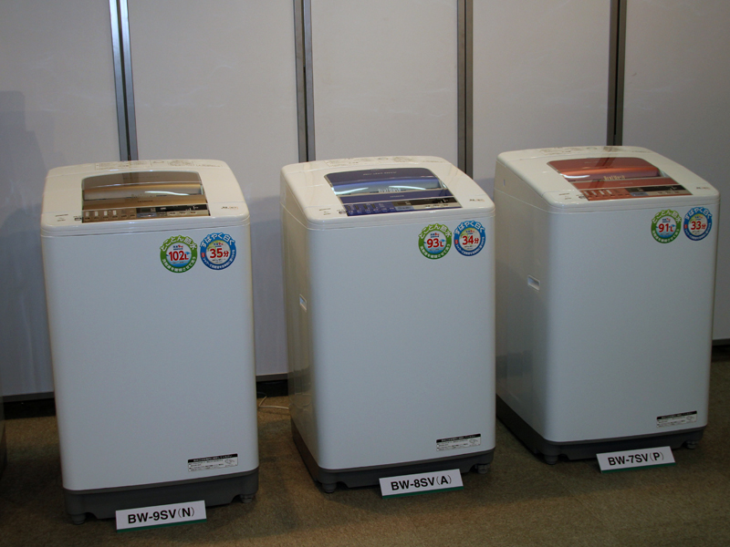 左から容量9kgの「BW-9SV」、容量8kgの「BW-8SV」、容量7kgの「BW-7SV」