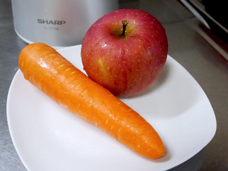 材料としたにんじんとりんご