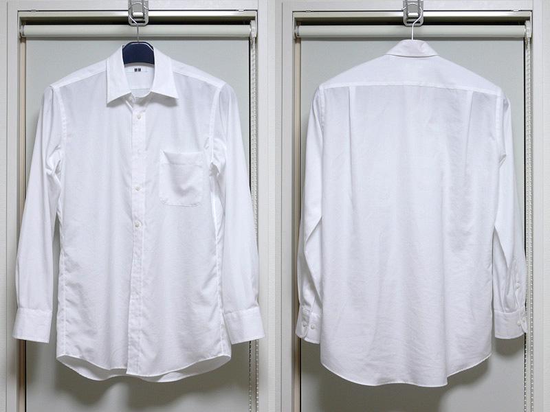 白いシャツは、綿100%の布地の薄いブロードタイプ。指定設定温度はこちらもM(中温)。ピシっとアイロンをあてておきたい
