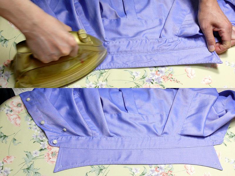 """シャツにアイロンをかける順番を順に紹介しよう<br class="""""""">【1.襟】裏から縫い目を引っ張りながらかけ、同じように表もかける"""