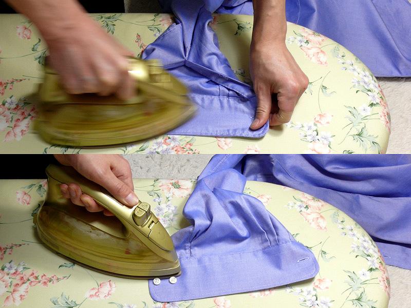 """【3.袖口(カフス)】<br class="""""""">袖口は厚みがあるので、襟と同じように縫い目を軽く引っ張りながら裏と表をかける"""