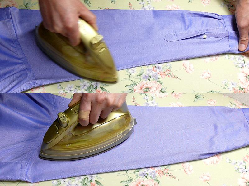 """【4.袖】<br class="""""""">袖下の縫い目に沿って広げ、袖全体の形を整えてからかけ、肩の線もつける。ひっくり返し、アイロンでシワを作らないように、全体を軽くかけなおす"""