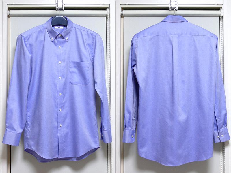 アイロンをかけたあとのオックスフォードタイプのシャツ。シワが消え、布地のツヤが戻った。清潔感がぐっとアップする印象だ