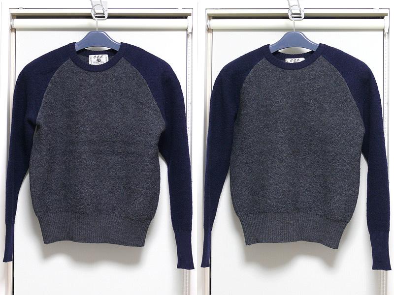 タンスから出した直後のセーター(左)。畳んだシワが浮かんでいるが、スチームを当てるだけでシワが簡単に消えた(右)。編み目も揃う印象だ