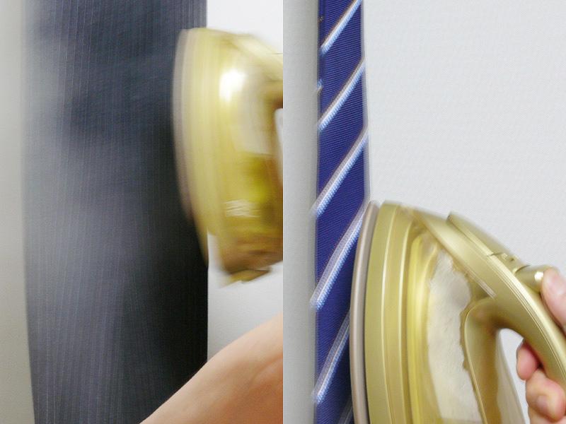 ズボン(左)のシワ、ネクタイのシワもショットスチームで簡単にシワが消せる