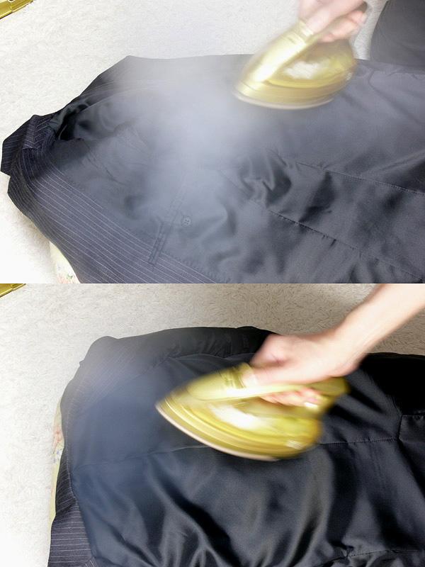 高温のスチームは、布地についた臭いを消したり、弱める効果がある。気軽に洗濯できないスーツこそ、できるだけ清潔に保ちたい。汗をかいた後など、スーツの裏側の脇の下(上)と背中(下)にスチームを当てて一晩吊るしておくだけで、臭いが抑えられる