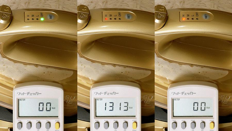 待機電力は0W(左)。通電中は温度設定に関わらず、1,305W(13A)前後も電力を消費する。コンセントに直接つなぎ、高出力の器具との併用に気をつける(中)。設定温度に達すると、電源が切れる(右)