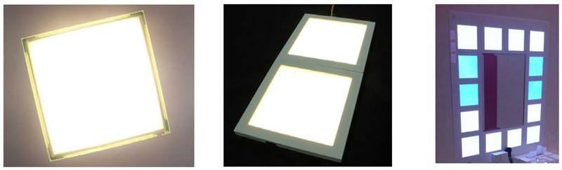 発光層塗布型有機EL照明のサンプル。左から、パネル、モジュール、使用例