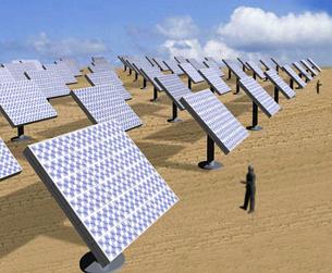 シャープが公開した、集光型太陽光発電所のイメージ
