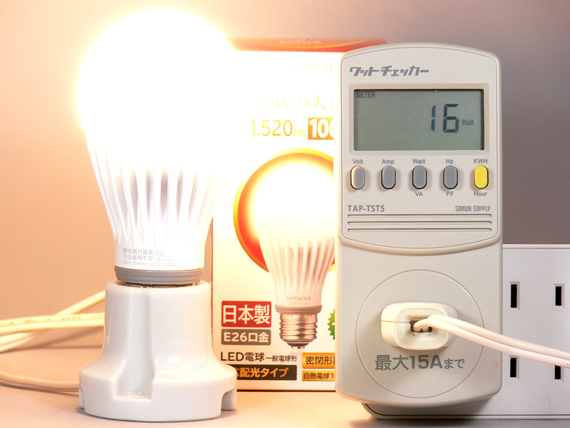 """<strong class="""""""">【日立 LDA17L-G】</strong><br class="""""""">実測の消費電力は16Wだった。発光効率は91.02lm/Wで、電球形蛍光灯以上に効率が良い"""