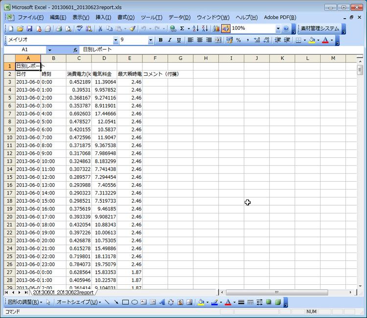 蓄積したデータはExcelファイルにて出力できる。これはうれしい機能だ