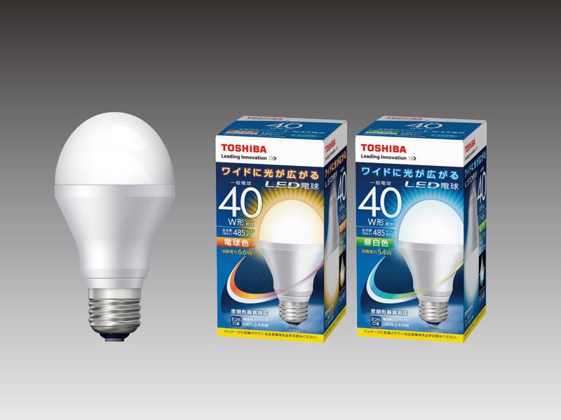 白熱電球40W形相当で配光角180度の「LDA7L-G-K/LDA5N-G-K」