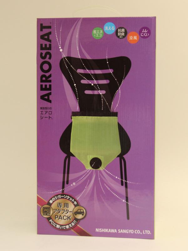 エアロシートのパッケージ。イラストからなんとなく使用感がイメージできる