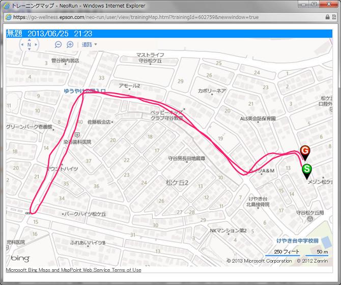 マップ表示画面。住宅地を走ったのだが、GPSの精度はなかなか高い