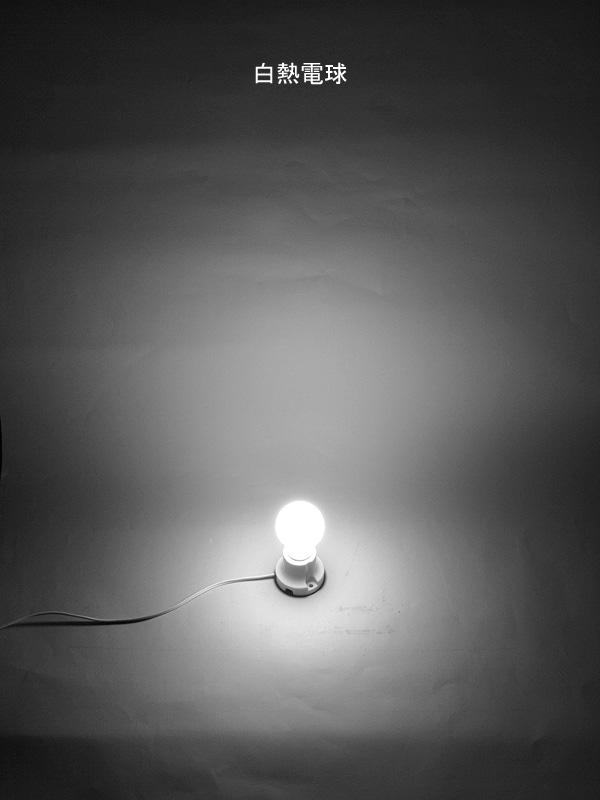 60W形白熱電球の光の広がり方。口金付近にもしっかり光が届いている
