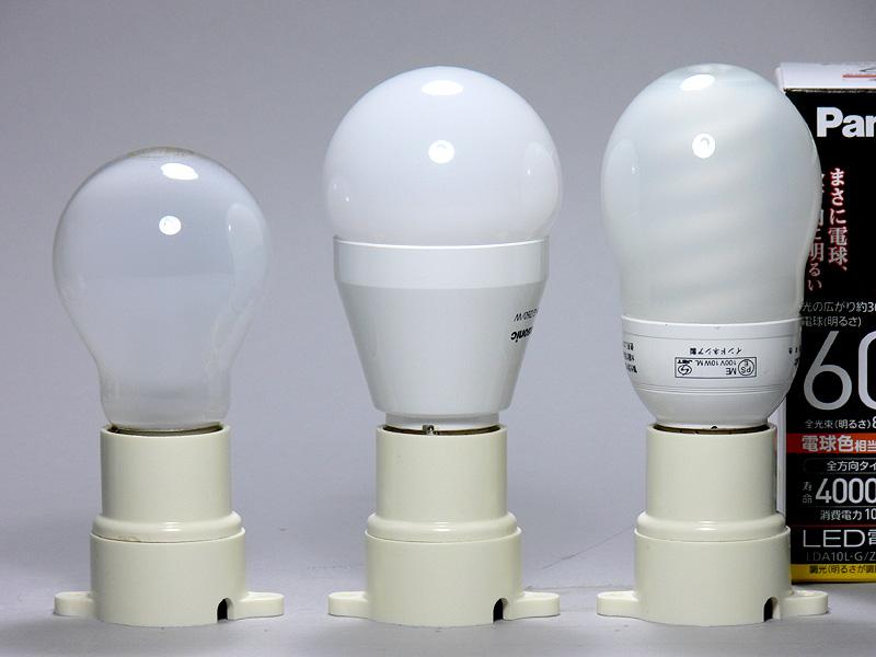 高さは3色とも114mm(中央)。60W形白熱電球よりも20mm背が高いが、電球型蛍光灯と全く同じ。凹凸のない放熱部 は白色の樹脂製。重量 は3色とも120gだった。品番以外、それぞれの色、フォルムはまったく同じ