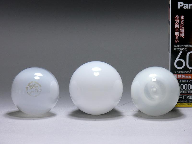 直径は60mm(中央)で、60W形白熱電球・電球型蛍光灯よりも5mm太い。それでも一般的な100W形白熱電球と同じ径だ