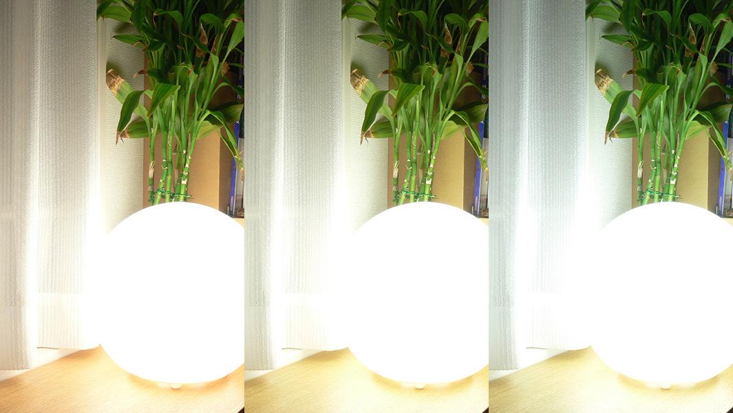 """<strong class="""""""">【EVERLEDS】</strong>左から、電球色、昼白色、昼光色<br class="""""""">どの光色も60W形白熱電球よりもさらに明るい。目に触れにくい場所に置いて、リビングルームなどの局所照明として使用するならばよいだろう"""