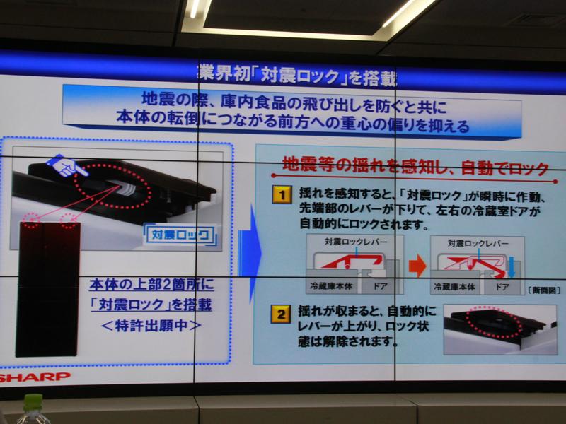 耐震ロック機構の仕組み。特許出願中という