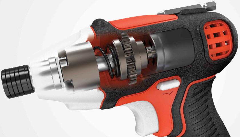 ハンマーとバネの作用で、回転しながら一定間隔で断続的に打撃を加えるインパクト機能を搭載