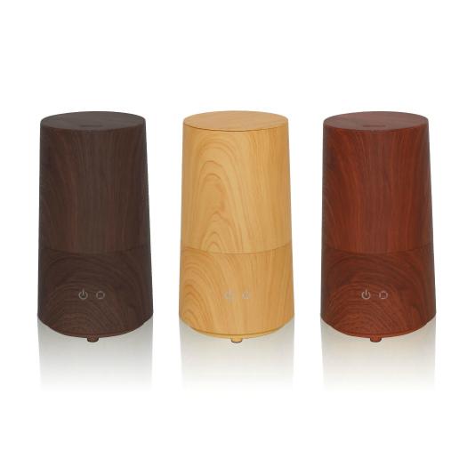「アロマ 超音波式 加湿器Tall -wood- サブリエ ウッド」。左からブラック、プレーン、ブラウン