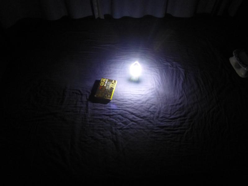 ベッドに置いた状態。個人用の灯りとしては必要な明るさがある