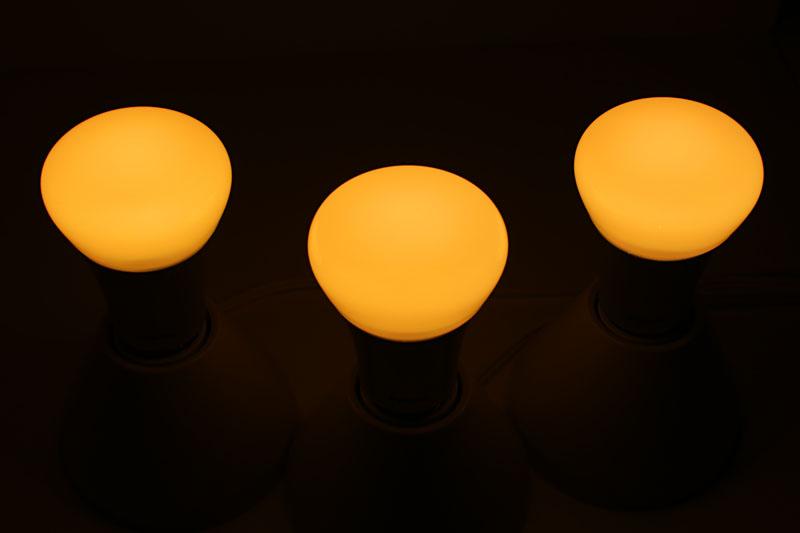 LEDランプは柔らかな電球色で灯る