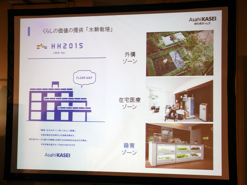 旭化成ホームズが展開する次世代技術を盛り込んだモデルハウス「HH2015」で、水耕栽培を展示したところ、好評だったという