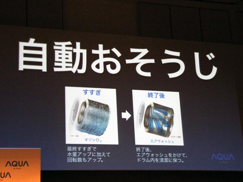 オゾン水とエアウォッシュで、ドラム槽を除菌する自動おそうじ機能