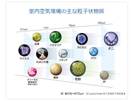 空気中に漂うさまざまな微粒子とその大きさ ※Blueairのホームページから引用