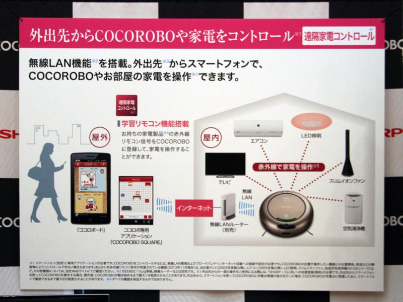 自宅の家電製品をCOCOROBOに登録することで、外出先からCOCOROBOを通じて家電製品の操作ができる