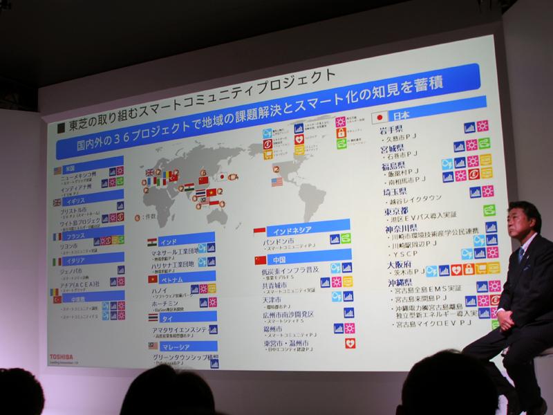 東芝は国内外36カ所で、様々な検証実験を行なっている