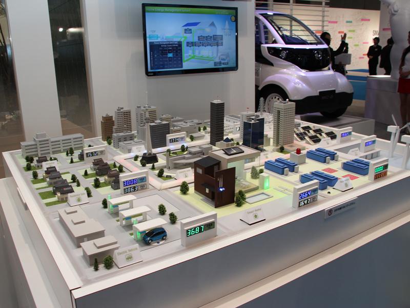 三社が考える2020年代の暮らしのあり方が展示されている。写真はジオラマ